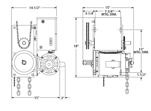 images/operator line-drawings/PowerMaster Model H V-belt Hoist Operator line drawing dimension detail.jpg